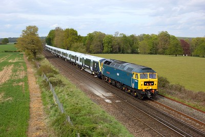 47749 hauling 701031 on 5Q10 Derby Litchurch Lane to Eastleigh at Wallers Ash on 7 May 2021  GBRf, Class47, SouthWestMainline, Unitdrag