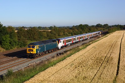 47727 leads 720518 and 47739 on 5Q47 Derby Litchurch Lane to Wolverton at Cossington on 7 August 2020