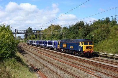 47739 hauling 360108 and 47727 working 5Q60 Northampton to Ilford at Bourne End on 22 August 2020  Class47, GBRf, WCML, Unitdrag