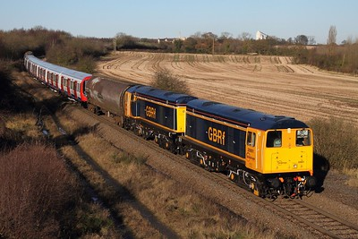 20901 leading 20905 working 7X23 Derby Litchurch Lane to Old Dalby at Bagworth on 5 December 2012  Class20, GBRf, CoalvilleLine, UndergroundDrag