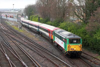 73202+442402 on the 1Z45 1403 Brighton to Brighton via Preston Park and Hove Yard, departing Hove Yard 27L on 12th March 2017