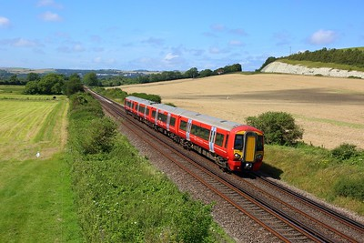 387219 working 2G34 1301 Brighton to Ore at Southerham junction on 14 August 2021  Class387, Southern, GatwickExpress, EastCoastway