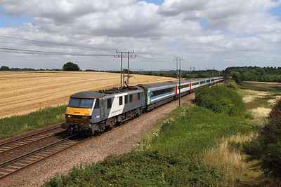 90003 on the 1P35 1200 Norwich to London Liverpool Street at Belstead bank on the 4th August 2015