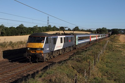 90003 on the 1P13 0710 Norwich to London Liverpool Street at Baylham on the 4th August 2015
