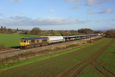 66745 leading 332003 and 332002 and 66739 on 6X32 0901 Old Oak Common to Newport Docks at Highnam on 15 December 2020. * Photo taken with landowner permission *