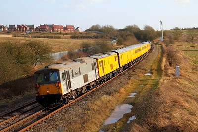 73107 leads 73138 tnt 37409 on the 1Z26 Hither Green to Derby RTC Network Rail test train at Wistow on the 30th January 2013.