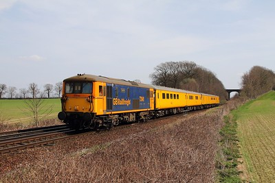 73141 tnt 73138 on the 1Q89 Dollands Moor to Hither Green at Tudeley, Tonbridge on the 1st April 2016