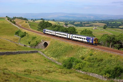 158757 working 2H93 1450 Carlisle to Leeds at Birkett Common on 24 July 2021  Class158, Northern, SandC