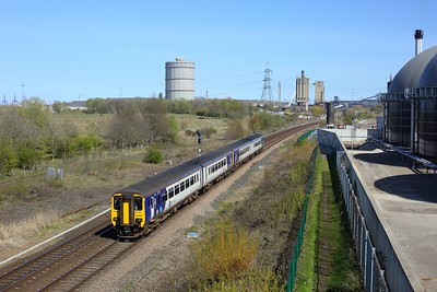 156483 leading 156444 on 2D31 1359 Saltburn to Bishop Auckland at South Bank on 22 April 2021  Class156, Northern, TeesValleyLine