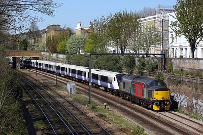 37510 hauling 345033 on 5Q50 0959 Old Oak Depot to Gidea Park at Mildmay Park, Canonbury on 19 April 2021, Class37, ROG, Europhoenix, NLL