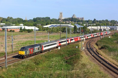 37884 leads the 5Q42 Ely Papworth sidings to Newport Docks at Ely Dock junction on 22 September 2021  Class37, ROG, Europhoenix, FenLine