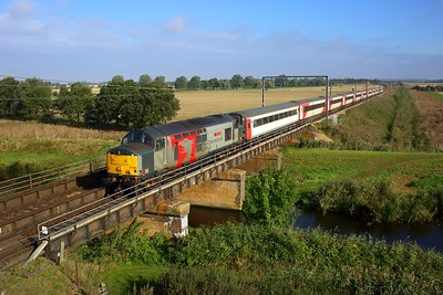 37884 leads the 5Q42 Ely Papworth sidings to Newport Docks at Fish and Duck Marina on 24 September 2021  Class37, Europhoenix, ROG, FenLine