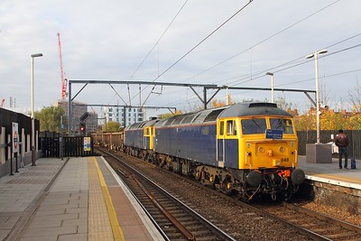 47848+47815 on the 6L74 1100 Wembley to Barrington Unloading PAD at Camden on the 13th November 2017.