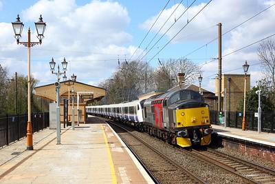 37510 hauling 345031 as 5Q50 0959 Old Oak Depot to Gidea Park at Hanwell on 16 April 2021  Class37, ROG, Europhoenix, GWMLLondon