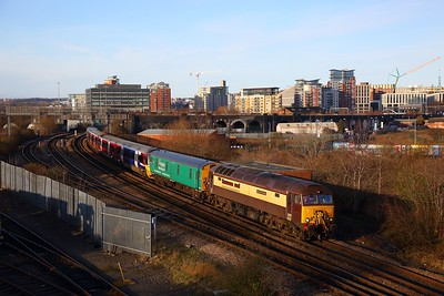 57305+333006+37884 on the 5Q20 1322 Neville Hill to Holbeck loco sidings at Engine Shed junction on the 18th January 2020