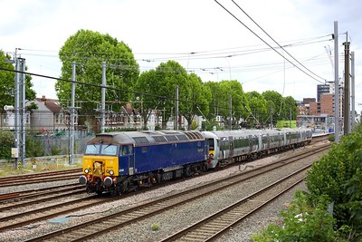 57310 hauls 387138 on 5Q74 1305 Ilford EMUD to Oxford up carriage sidings at West Ealing on 6 July 2020  Class57, ROG, GWMLLondon