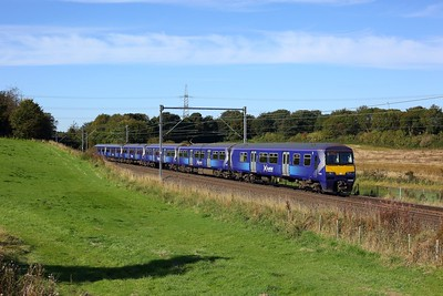 320302 leading 320411 on 2E72 1107 Balloch to Airdrie east of Easterhouse, at Manse Road, Bargeddie on 1 October 2020  Class320, Scotrail, NorthClydeline