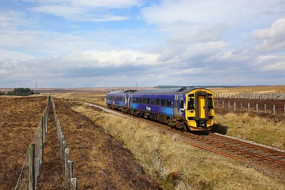 158702 on the 2H62 1156 Wick to Inverness at Forsinard on the 21st April 2019 1