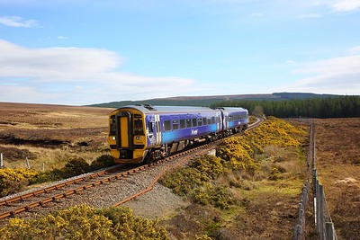 158702 on the 2H62 1156 Wick to Inverness at Forsinard on the 21st April 2019