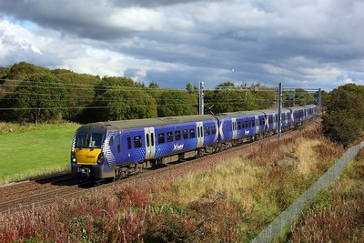 334009 leading 334032 on 2H05 1239 Edinburgh to Helensburgh Central at Manse Road, Bargeddie approaching Easterhouse on 1 October 2020  Class334, Scotrail, NorthClydeline