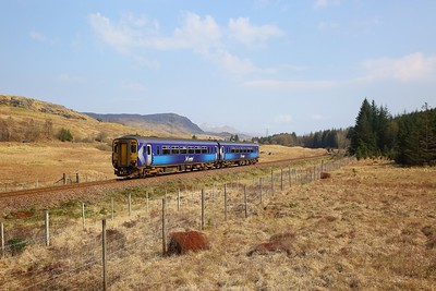 156445 on the 1Y25 1034 Glasgow Queen Street to Oban approaching Crianlarich on the 8th April 2019