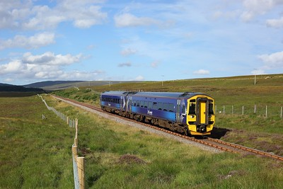 158714 working the 2H64 1600 Wick to Inverness approaching Kinbrace on 8 August 2020  Scotrail, Class158, FarNorth