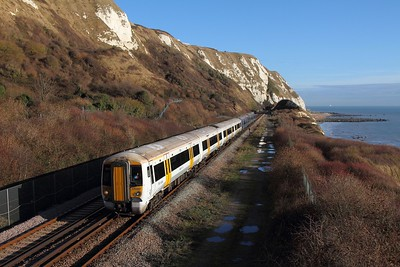 375807+375714 on the 2W38 1158 Dover Priory to London Charing Cross at Capel le Ferne on the 22nd December 2016