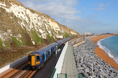 375808+375711 on the 2W38 Dover Priory to London Charing Cross at Shakespeare Cliff on the 2nd November 2017