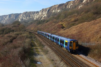 375914+375806 on the 2R28 1030 London Charing Cross to Dover Priory at Capel le Ferne on the 18th February 2018
