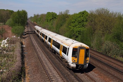 375910 on the 2N28 1036 London Victoria to Canterbury West at Swanley on the 8th May 2016