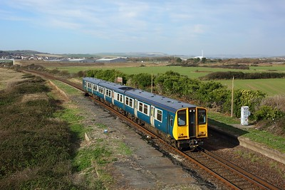 313201 working 2C24 1111 Brighton to Seaford at Bishopstone Halt, Tide Mills on 6 November 2020
