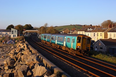 150256 working 2B39 1849 Carmarthen to Cardiff Central at Ferryside on 2 April 2021  Class150, TFW, WestWalesline