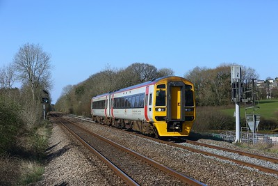 158839 working 2B53 0814 Carmarthen to Newport - cancelled at Cardiff Central due to late running, at Coychurch on 2 April 2021    Class158, TFW, SouthWalesMainline