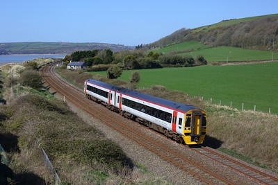 158822 working 1W66 1300 Milford Haven to Manchester Piccadilly at St Ismael on 3 April 2021  Class158, TFW, WestWalesLine