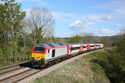 67017 working 5J79 1605 East Usk to Crewe at Penpergwn on 4 May 2021  Class67, TFW, Themarches