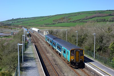 150229 working 1B97 1250 Fishguard Harbour to Cardiff Central at Ferryside on 2 April 2021  TFW, Class150, WestWalesLine