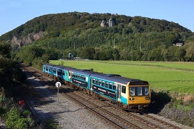 142077 leading 150231 working 2P67 1615 Merthyr to Penarth at Morganstown on 14 September 2020