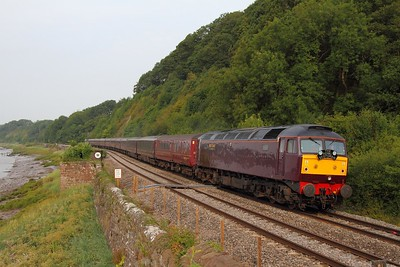 57001 leading 37685 on the 1Z29 Hereford to Bath Spa Royal Scotsman at Gatcombe on 12 July 2011  Class57, WCRC, Lydneyline