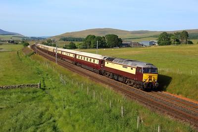 57313 leads 57601 working 1Z35 Edinburgh to Carlisle at Littlegill on 23 July 2021  Class57, NorthernBelle, ClydeValley, WCMLScotland, WCRC