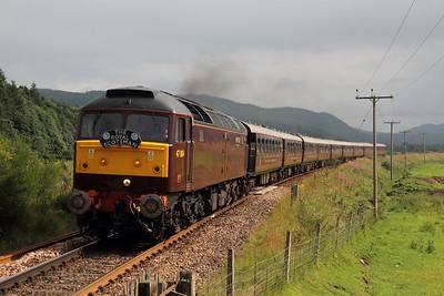 47804 leads 1Z89 Edinburgh to Dalwhinnie Royal Scotsman at Guay crossing near Kindallachan on 5 August 2012  Class47, WCRC, RoyalScotsman, HML