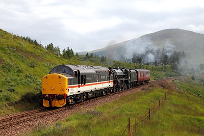 37518 leads 44871 on 5Z32 Carnforth to Fort William at Bridge of Orchy on 3 August 2012  Class37, WHL, IanRiley, WCRC