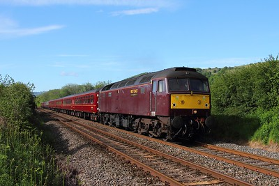 47746 on the 1Z57 Cardiff Central to Shrewsbury at Abergavenny on the 19th May 2017
