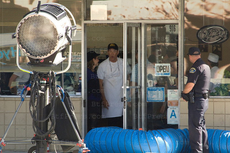 Tom Hanks in the set of Larry Crowne,co-star Julia Roberts in Burbank California.