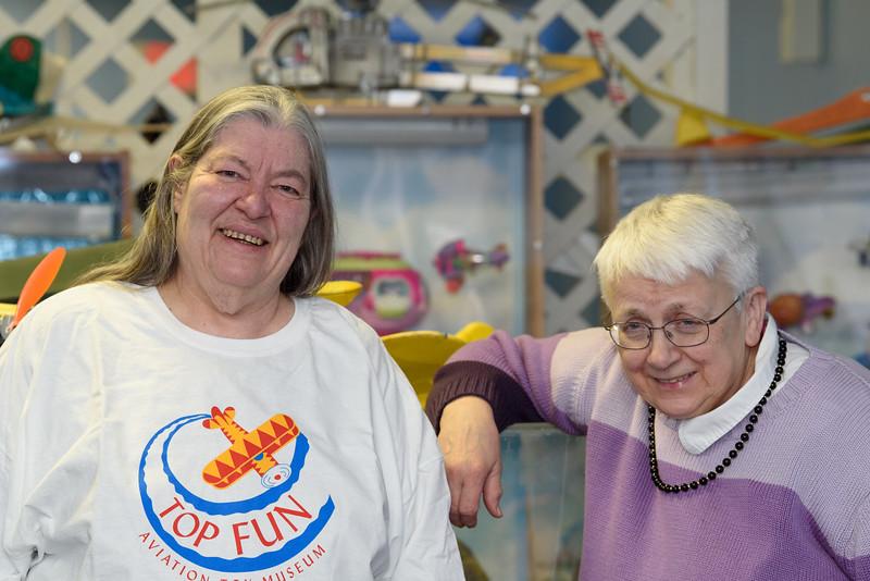 Top Fun Aviation Toy Museum owners Deborah Scheetz (left) and Rosalie Dunbar (right) on Sunday Feb. 6, 2017.  Sun photo/Jeff Porter