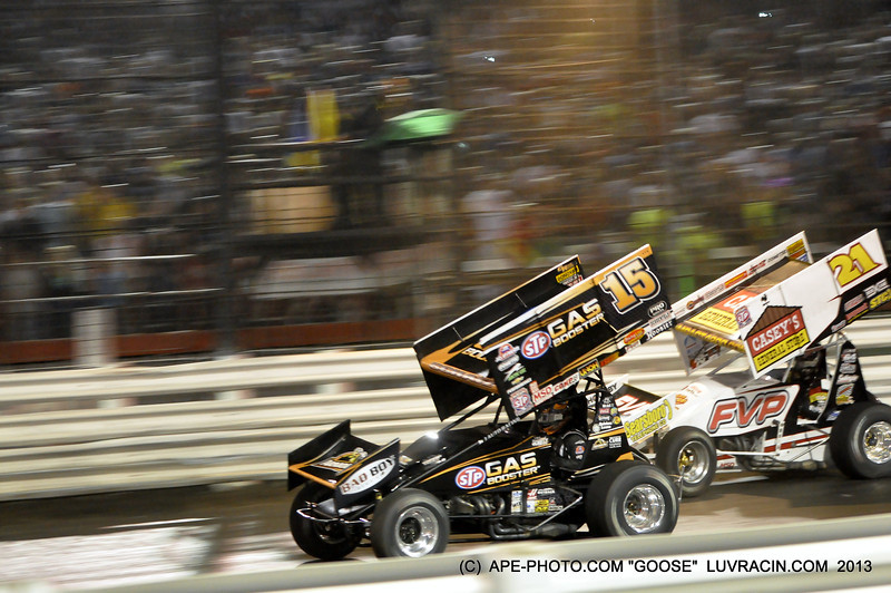 """THE PASS FOR THE LEAD ON THE FRONT STRETCH !! BY JERRY """"gOOSE"""" GOSSEL APE-PHOTO.COM"""