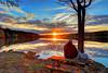 lake Brandt sunset with Bergamasco dog