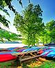 kayaks at lake Brandt marina