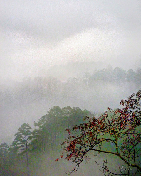 Bryson mountain ridges in the fog