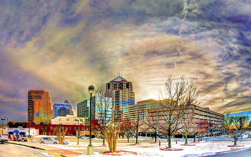 Greensboro frozen downtown