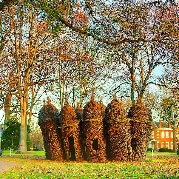 Guilford College  stick sculpture by  Partick Dougherty